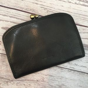 RETRO Genuine Leather Black Kiss Lock Wallet